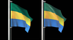 Gabon flags loop pack 3 in 1 with alpha screen and loop 7sec Stock Footage