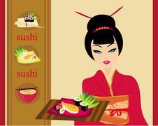 Stock Illustration of sweet asian girl enjoy sushi - menu card