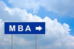 mba or master of business administration on blue road sign - stock illustration