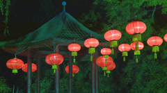 Lanterns and pagoda roof in Chinese gardens Stock Footage