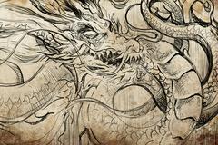 Japanese dragon tattoo sketch, handmade design over vintage paper Stock Illustration