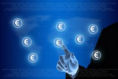 Hand pushing euro currency network Stock Illustration