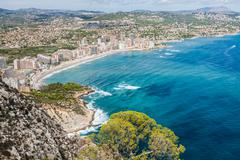 Coastline of mediterranean resort calpe, spain with sea and lake Stock Photos