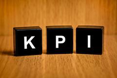 kpi or key performance indicator text on block - stock photo