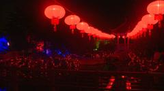 Lanterns at night and small pagoda Stock Footage