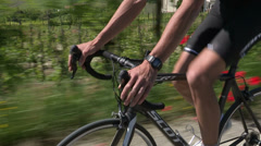 Detail of cyclist shifting gears Stock Footage