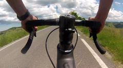 Cyclist riding professional bike Stock Footage