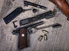 disassembled weapon - stock photo