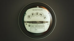 Stock Video Footage of Analog electricity meter showing household consumption. watt energy KWh