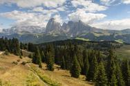 Stock Photo of Italy, South Tyrol, Dolomites, Langkofel group, Seiser Alm