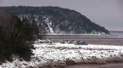 Five Islands, Nova Scotia at Low Tide in Winter Stock Footage