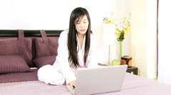 Ecommerce happy asian woman buying online with credit card Stock Footage