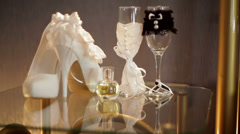 white bridal shoes and wedding accessories - stock footage