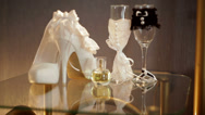 Stock Video Footage of white bridal shoes and wedding accessories