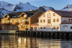 Scandinavia, Norway, Lofoten, Harbour of Kabelvag - stock photo