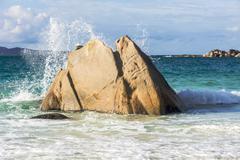 Seychelles, Praslin, granitic rock at Anse Lazio Stock Photos