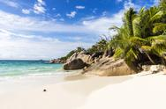 Stock Photo of Seychelles, Praslin, rock formation at beach Anse Lazio