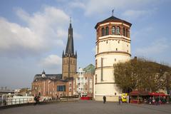 Germany, North Rhine-Westphalia, Duesseldorf, Burgplatz, Castle Tower, Shipping Stock Photos