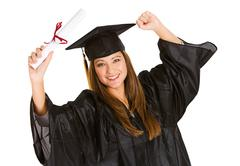 Graduate: woman cheering for recent graduation Stock Photos