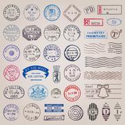 vintage postage stamps - stock illustration