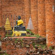 old buddha statue in temple ruin. ayuthaya, thailand - stock photo
