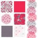 Stock Illustration of set of 6 seamless patterns with decorative verbena flowers, design elements