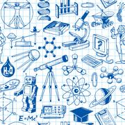 science and education seamless pattern - stock illustration