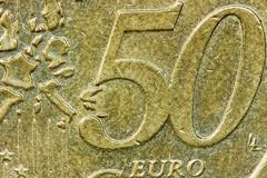 Close up fifty euro cents Stock Photos