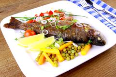 grilled trout and quite fine vegetables, cutlery - stock photo