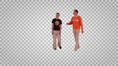 Two men going to the camera (on alpha matte) Stock Footage