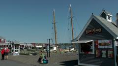 Halifax Nova Scotia New Scotland Canada 039 seaport, snack kiosk in a hut Stock Footage