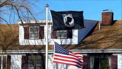 POW-MIA flag waving Stock Footage