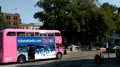 Halifax Nova Scotia New Scotland Canada 054 city, pink excursion bus and church Stock Footage