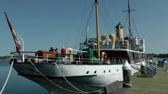Halifax Nova Scotia New Scotland Canada 035 seaport, museum ship CSS Acadia Stock Footage
