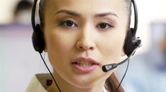 Receptionist with headset Stock Footage