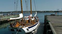 "Halifax Nova Scotia New Scotland Canada 040 seaport, wooden sailing ship ""mar"" Stock Footage"