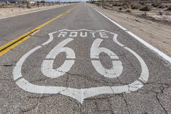 vintage route 66 highway sign - stock photo