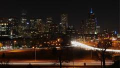 4K Denver Skyline Night Wide Arkistovideo
