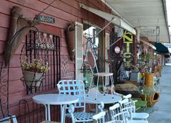 Vintage items at a sidewalk sale antique shop -landscape Stock Photos