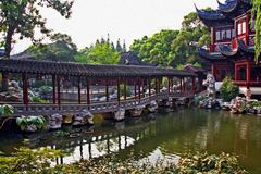 pavilion in yuyuan gardens, shanghai, china, oil paint stylization - stock photo