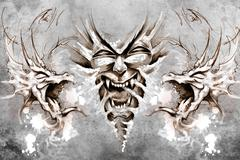 nightmare tattoo design over grey background. textured backdrop. artistic ima - stock illustration