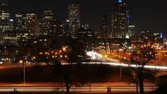 4K Denver Night Skyline Zoom Out Stock Footage