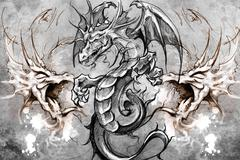 dragons tattoo design over grey background. textured backdrop. artistic image - stock illustration