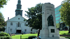 Halifax Nova Scotia New Scotland Canada 044 city, church and monument in a park Stock Footage
