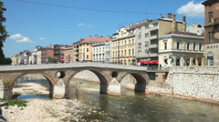 Bridge on Miljacka river in Sarajevo Stock Footage
