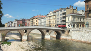 Stock Video Footage of Bridge on Miljacka river in Sarajevo
