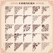 vintage design elements corners and borders - stock illustration