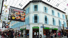 Singapore Bugis district indoor air-conditioned Hylam Street shopping Mall Stock Footage