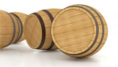 Rolling wooden barrels with wine or beer Stock Footage