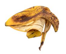Discarded spotted overripe banana skin Stock Photos